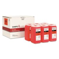 TrustMedical Sharps Retrieval Program Containers, 1.5 qt, Plastic, Red, 6/Box TMDSC1Q4241Q6