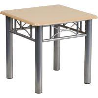 Flash Furniture Natural Laminate End Table with Silver Steel Frame FHFJB6ENDNATGG