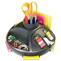 "3M Rotary Self-Stick Notes Dispenser, Plastic, Rotary, 10"" diameter x 6h, Black MMMC91"