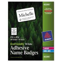Avery EcoFriendly Adhesive Name Badge Labels, 2 1/3 x 3 3/8, White, 400/Box AVE45395