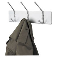 Safco Metal Wall Rack, Three Ball-Tipped Double-Hooks, 18w x 3-3/4d x 7h, Satin Metal SAF4161