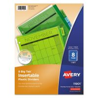 Avery Insertable Big Tab Plastic Dividers, 8-Tab, Multi-color Tab, Letter, 1 Set AVE11901