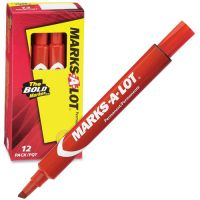 Avery MARK A LOT Large Desk-Style Permanent Marker, Chisel Tip, Red, Dozen AVE08887