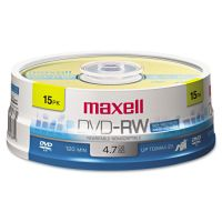 Maxell DVD-RW Discs, 4.7GB, 2x, Spindle, Gold, 15/Pack MAX635117