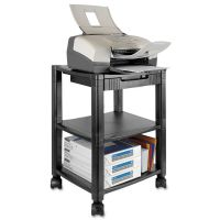 Kantek Mobile Printer Stand, Three-Shelf, 17w x 13 1/4d x 24 1/2h, Black KTKPS540