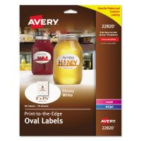 Avery Oval True Print Easy Peel Labels, 2 x 3 1/3, Glossy White, 80/Pack AVE22820