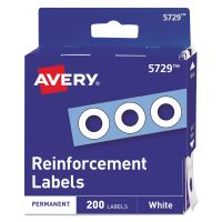 """Avery Dispenser Pack Hole Reinforcements, 1/4"""" Dia, White, 200/Pack AVE05729"""