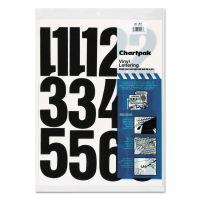 "Chartpak Press-On Vinyl Numbers, Self Adhesive, Black, 4""h, 23/Pack CHA01193"
