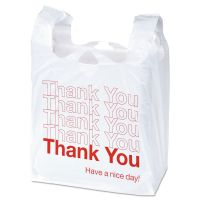 "Universal Plastic ""Thank You"" Shopping Bags, 11 1/2 x 6 x 22, 0.55 mil, White/Red, 1000/BX UNV63037"