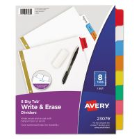 Avery Write & Erase Big Tab Paper Dividers, 8-Tab, Multi-color Tab, Letter, 1 Set AVE23079