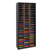 Safco Steel/Fiberboard Literature Sorter, 72 Sections, 32 1/4 x 13 1/2 x 75, Black SAF7131BL