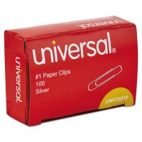 Universal Paper Clips, Smooth Finish, No. 1, Silver, 1000/Pack UNV72210