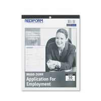 Rediform Employment Application, 8 1/2 x 11, 50 Forms REDM66026NR