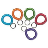 SteelMaster Wrist Coil with Key Ring, Assorted, 10/Box MMF20145AP47