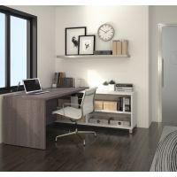 Bestar Pro-Linea L-Desk in White & Bark Gray BESBES12088547