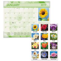 AT-A-GLANCE Antique Floral Monthly Desk Pad Calendar, 22 x 17, Antique Floral, 2019 AAGDMD13532