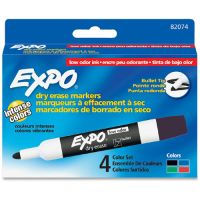 EXPO Low Odor Dry Erase Marker, Bullet Tip, Assorted, 4/Set SAN82074