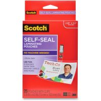 Scotch Self-Sealing Laminating Pouches w/Clip, 12.5 mil, 2 15/16 x 4 1/16, 25/Pack MMMLS852G