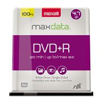 Maxell DVD+R Discs, 4.7GB, 16x, Spindle, Silver, 100/Pack MAX639016
