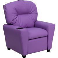 Flash Furniture Contemporary Lavender Vinyl Kids Recliner with Cup Holder FHFBT7950KIDLAVGG