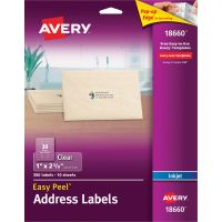 Avery Matte Clear Easy Peel Address Labels, Inkjet, 1 x 2 5/8, 300/Pack AVE18660