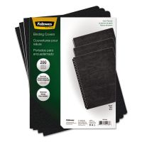 Fellowes Classic Grain Texture Binding System Covers, 11-1/4 x 8-3/4, Black, 200/Pack FEL52138