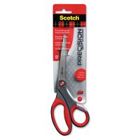 "Scotch Precision Scissors, Pointed, 8"" Length, 3 1/4"" Cut, Gray/Red MMM1448B"