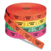 PM Company Admit One Single Ticket Roll, Numbered, Assorted, 2000 Tickets/Roll, 4 Rolls/Pack PMC59002