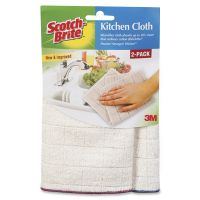 Scotch-Brite Kitchen Cleaning Cloth, Microfiber, White, 2/Pack, 12 Packs/Carton MMM90322
