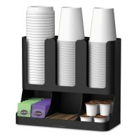 Mind Reader Flume Six-Section Upright Coffee Condiment/Cup Organizer, Black, 11.5 x 6.5 x 15 EMSUPRIGHT6BLK