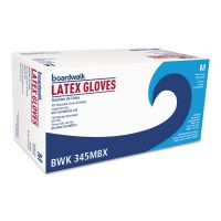 Boardwalk General-Purpose Latex Gloves, Powder-Free, 4.4 mil, Medium, Natural, 100/Box BWK345MBX