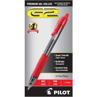 Pilot G2 Premium Retractable Gel Ink Pen, Refillable, Red Ink, .7mm, Dozen PIL31022