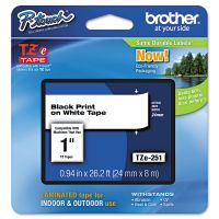 """Brother P-Touch TZe Standard Adhesive Laminated Labeling Tape, 1""""w, Black on White BRTTZE251"""