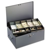 SteelMaster Extra Large Cash Box with Handles, Key Lock, Gray MMF221F15TGRA