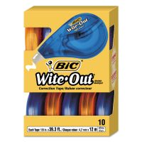 "BIC Wite-Out EZ Correct Correction Tape, Non-Refillable, 1/6"" x 472"", Blue/Orange Dispenser, 10/Box BICWOTAP10"