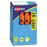 Avery HI-LITER Desk-Style Highlighter, Chisel Tip, Fluorescent Orange Ink, Dozen AVE24050