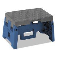"Cosco One-Step Folding Step Stool, 300 lb, 8 1/2"" Working Height, Blue/Gray CSC11903BGR1E"