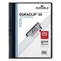 Durable Vinyl DuraClip Report Cover w/Clip, Letter, Holds 30 Pages, Clear/Black, 25/Box DBL220301