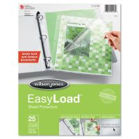 Wilson Jones Side & Top Loading EasyLoad Sheet Protectors, Letter, Heavy Weight, Clear, 25/Pack WLJ21439