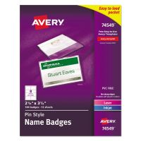 Avery Pin-Style Name Badge Holders w/Inserts, Top Load, 2 1/4 x 3 1/2, White, 100/BX AVE74549