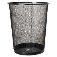 Rolodex 4 1/2 Gallon Steel Black Round Mesh Trash Can ROL22351