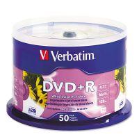 Verbatim Inkjet Printable DVD+R Discs, White, 50/Pack VER95136