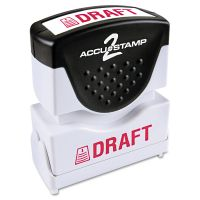 ACCUSTAMP2 Pre-Inked Shutter Stamp, Red, DRAFT, 1 5/8 x 1/2 COS035585