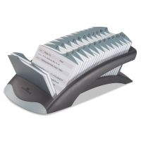 Durable TELINDEX Desk Address Card File, Holds 500 4 1/8 x 2 7/8 Cards, Graphite/Black DBL241201