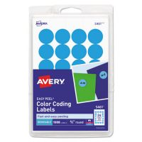 "Avery Printable Removable Color-Coding Labels, 3/4"" dia, Light Blue, 1008/Pack AVE05461"