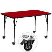 Flash Furniture Mobile 30''W x 72''L Rectangular Activity Table with Red Thermal Fused Laminate Top and Standard Height Adjustable Legs FHFXUA3072RECREDTACASGG