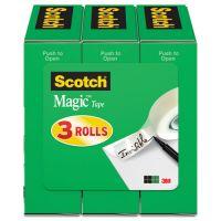 """Scotch Magic Tape Refill, 1/2"""" x 1296"""", 1"""" Core, Clear, 3/Pack MMM810H3"""