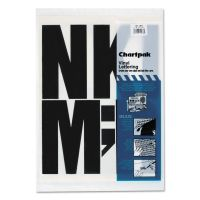 "Chartpak Press-On Vinyl Uppercase Letters, Self Adhesive, Black, 6""h, 38/Pack CHA01184"