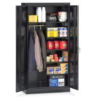 "Tennsco Combination Wardrobe/Storage Cabinet, 6 Shelves, 36"" x 18"" x 72"", Black TNN7214BK"