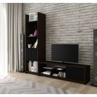 Bestar Small Space 2-Piece TV Stand and Storage Tower Set in Dark Chocolate and Black BESBES1685279